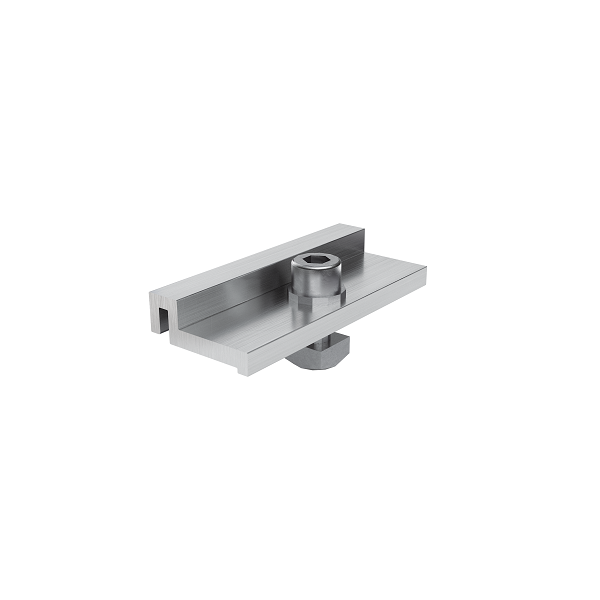 Module support clamp Flat Roof PLUS (For the fi xation of a top rail layer on the supports for clamping on the modules)